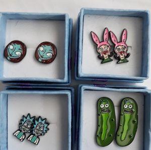 New cartoon earrings 4 total